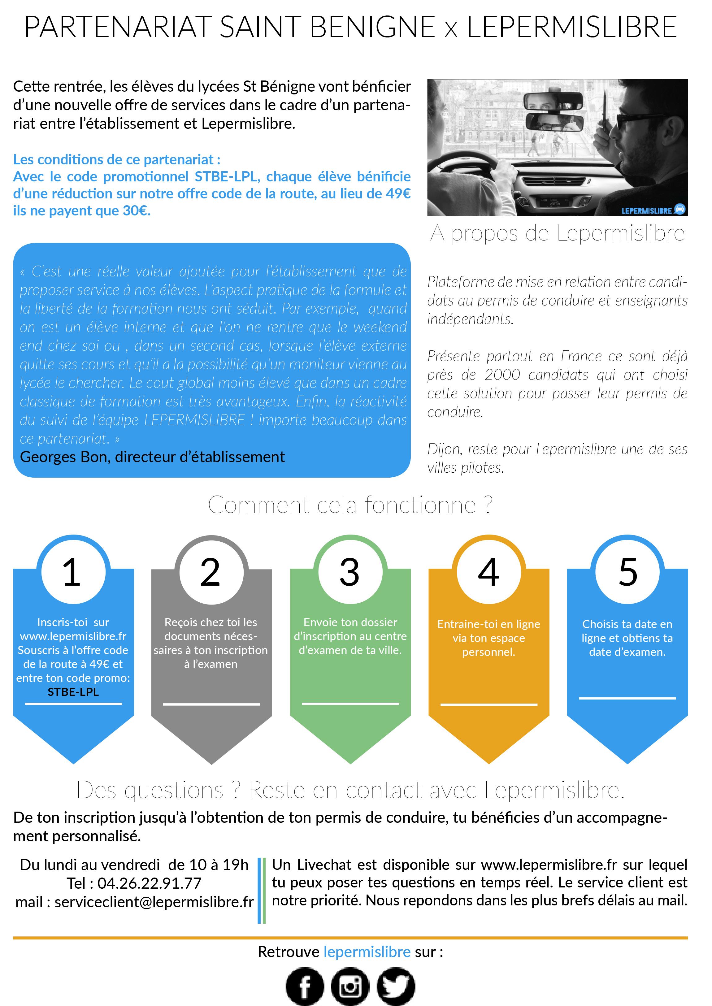 Inscription Code De La Route Prix : lepermislibre une auto cole en partenariat avec le lyc e st b ~ Maxctalentgroup.com Avis de Voitures